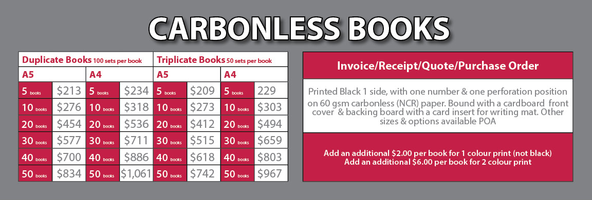 CARBONLESS BOOKS