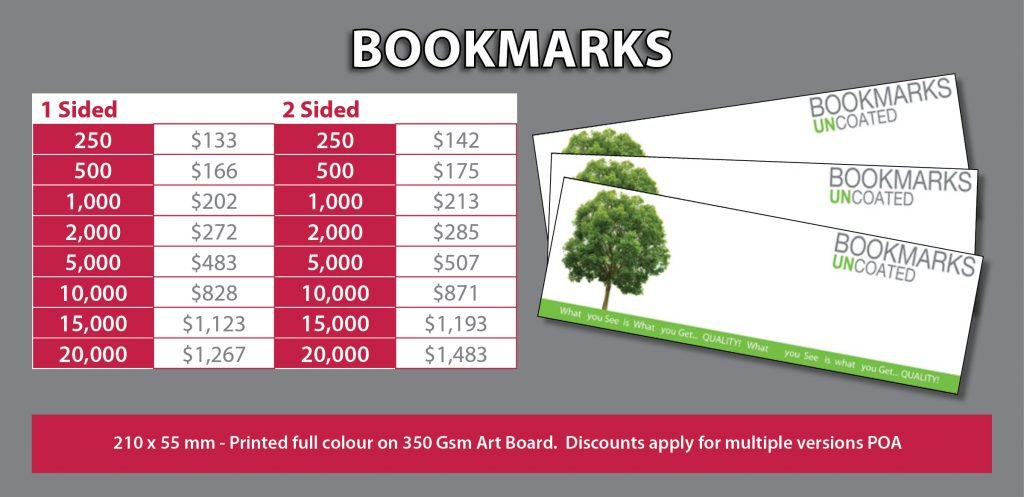 Bookmarks Price List