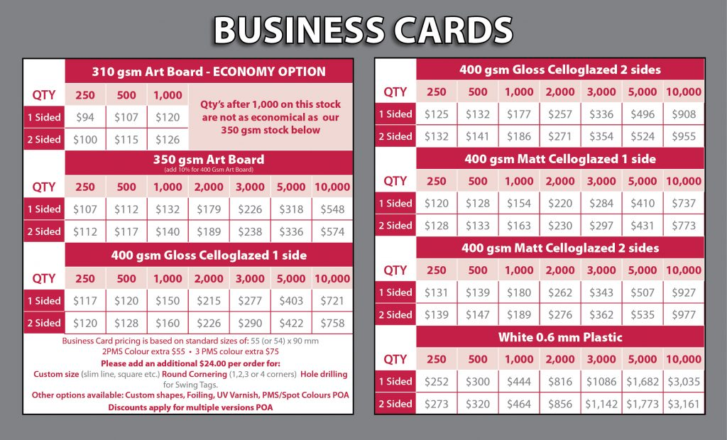 Business Carsa Price List