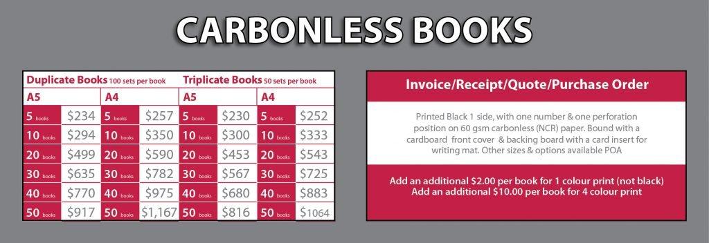 Carbonless Books Price List