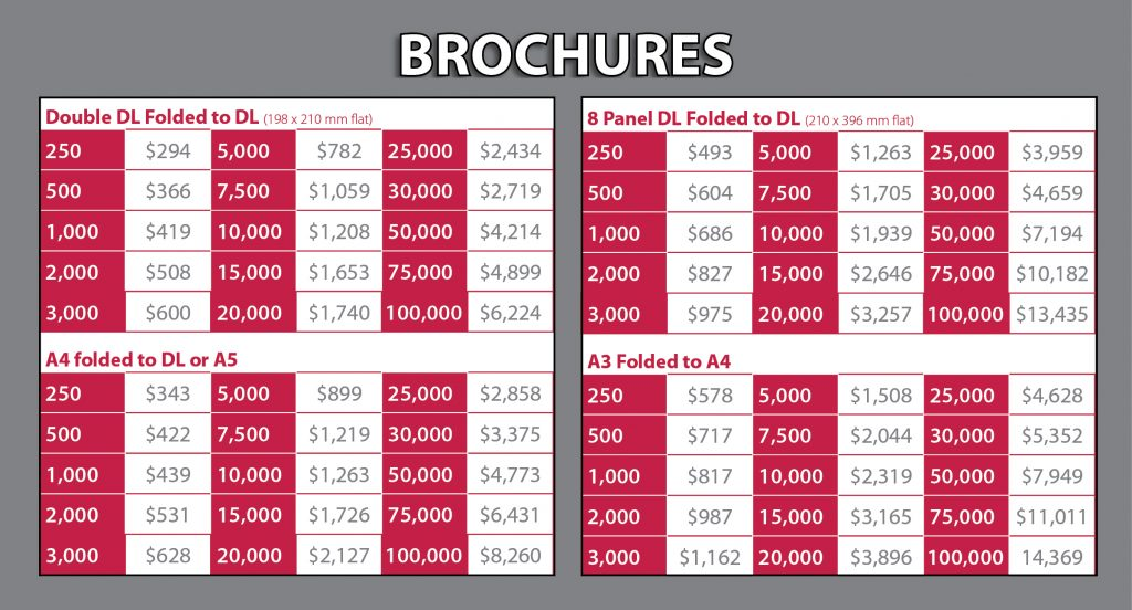 Brochures Price List