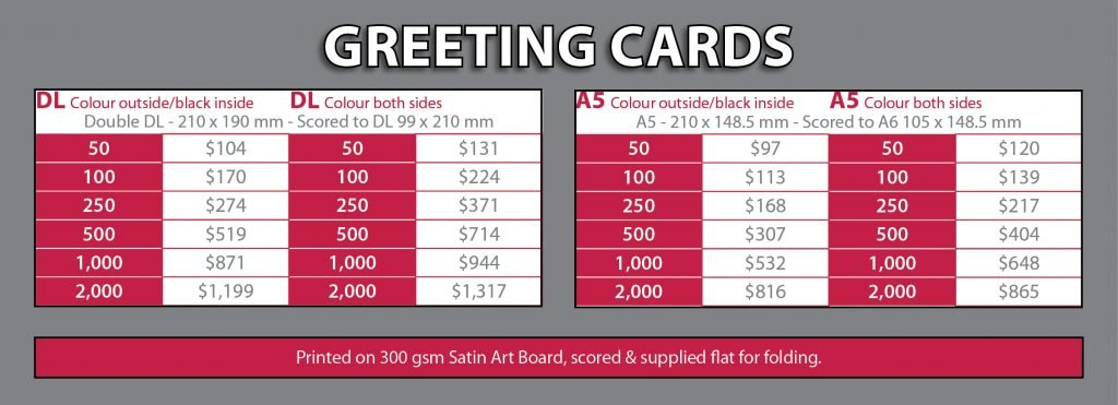 Greeting Cards Price List